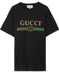 86bf3436a03 Gucci - Vintage Logo Cotton Jersey T-shirt - Lyst