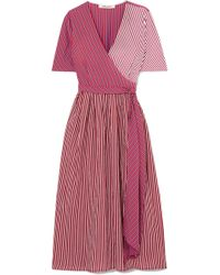 Diane von Furstenberg - Panelled Striped Poplin Wrap Dress - Lyst