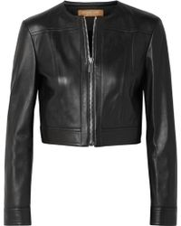 Michael Kors - Cropped Leather Jacket - Lyst