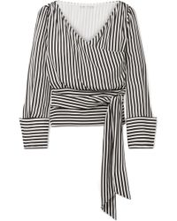 Alice + Olivia - Alba Wrap-effect Striped Silk Blouse - Lyst