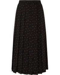 Miu Miu - Pleated Printed Silk Crepe De Chine Midi Skirt - Lyst