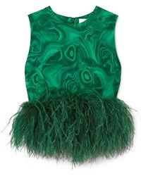 16Arlington Dickinson Cropped Feather-trimmed Printed Crepe Top - Green
