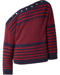 Philosophy Di Lorenzo Serafini - Asymmetric Embellished Striped Cotton Jumper - Lyst
