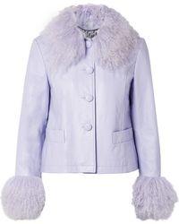 Saks Potts | Dorthe Shearling-trimmed Leather Jacket | Lyst