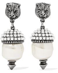 Gucci - Silver-tone Faux Pearl Earrings - Lyst
