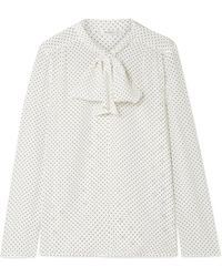 Max Mara - Polka-dot Silk Crepe De Chine And Stretch-jersey Blouse - Lyst