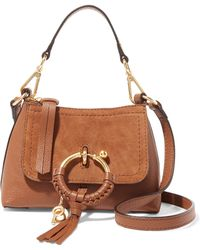 See By Chloé - Joan Mini Suede-paneled Textured-leather Shoulder Bag - Lyst
