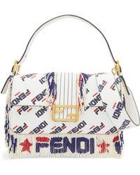 Fendi - Baguette Fringed Beaded Printed Leather Shoulder Bag - Lyst