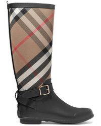 Burberry - Checked Cotton-canvas And Rubber Rain Boots - Lyst