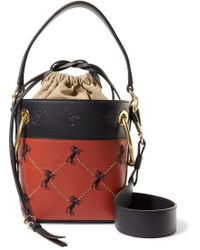 Chloé - Roy Mini Studded Embroidered Leather Bucket Bag - Lyst