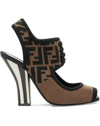 Fendi - Logo-jacquard Stretch-mesh Sandals - Lyst