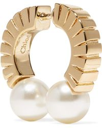 Chloé - Darcey Gold-tone Faux Pearl Earring Gold One Size - Lyst
