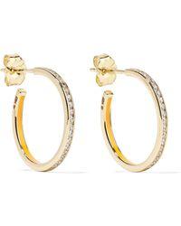 Alison Lou - Linear 14-karat Gold, Enamel And Diamond Hoop Earrings Gold One Size - Lyst