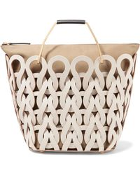 Marni - Coral Laser-cut Leather And Canvas Tote - Lyst