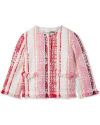 Oscar de la Renta - Cropped Fringed Tweed Jacket - Lyst