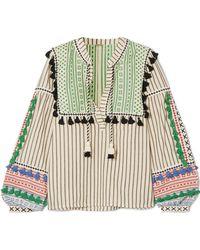 Dodo Bar Or - Tasselled Striped Cotton-gauze Blouse - Lyst
