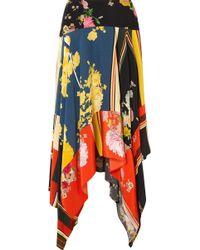 Preen Line - Eva Asymmetric Printed Crepe De Chine Midi Skirt - Lyst