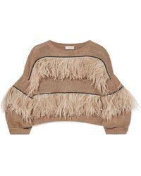 Brunello Cucinelli - Feather-trimmed Embellished Cotton, Linen And Silk-blend Jumper - Lyst