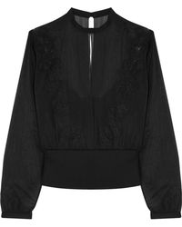 La Perla - English Rose Silk-blend Chiffon, Embroidered Tulle And Jersey Top - Lyst