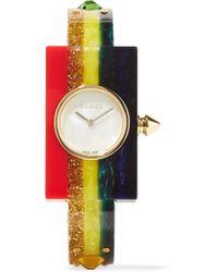 Gucci - Embellished Plexiglas And Gold-tone Watch - Lyst