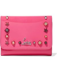 Christian Louboutin - Macaron Spiked Patent-leather Wallet - Lyst