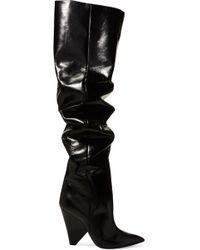 Saint Laurent - Niki Glossed-leather Knee Boots - Lyst