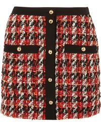 Alessandra Rich - Button-embellished Bouclé-tweed Mini Skirt - Lyst