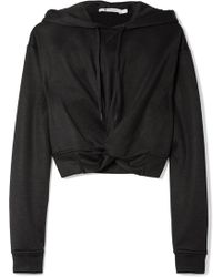 T By Alexander Wang - Cropped Twist-front French Terry Hoodie - Lyst