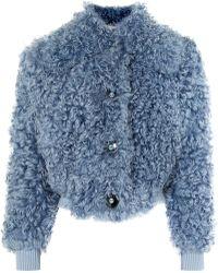 Miu Miu - Cropped Shearling Jacket - Lyst