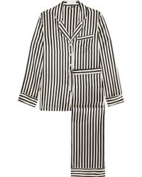 Olivia Von Halle | Lila Striped Silk-satin Pyjama Set | Lyst