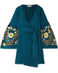 Sensi Studio - Embroidered Crinkled-cotton Wrap Dress - Lyst