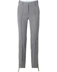 Off-White c/o Virgil Abloh - Houndstooth Canvas-trimmed Wool Straight-leg Pants - Lyst