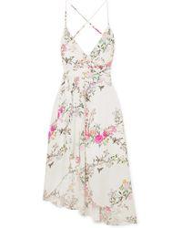 Equipment - + Tabitha Simmons Estille Asymmetric Floral-print Silk Crepe De Chine Dress - Lyst