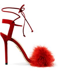 Charlotte Olympia - Salsa Feather-trimmed Suede Sandals - Lyst