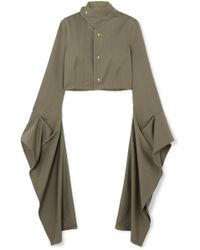 Loewe - Cropped Draped Cotton-twill Blouse - Lyst