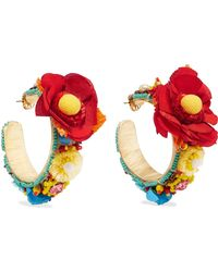 Ranjana Khan - Beleza Gold-tone, Raffia And Crystal Clip Earrings - Lyst