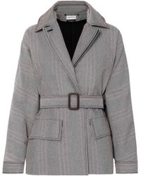 By Malene Birger - Rawil Belted Checked Cotton-blend Twill Jacket - Lyst
