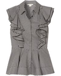 Antonio Berardi - Ruffled Gingham Cotton Peplum Top - Lyst