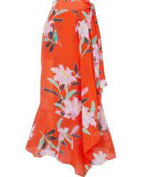 Diane von Furstenberg - Floral-print Cotton And Silk-blend Gauze Wrap Maxi Skirt - Lyst
