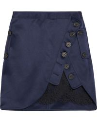 Self-Portrait - Lace-paneled Wrap-effect Satin Mini Skirt - Lyst
