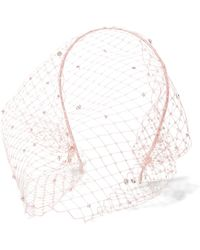 Jennifer Behr - Swarovski Crystal-embellished Veiled Headband - Lyst