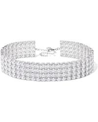 Kenneth Jay Lane - Silver And Rhodium-plated Cubic Zirconia Choker - Lyst