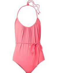 Lisa Marie Fernandez - Charlotte Belted Stretch-crepe Halterneck Swimsuit - Lyst