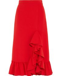 MSGM - Ruffled Crepe Midi Skirt - Lyst