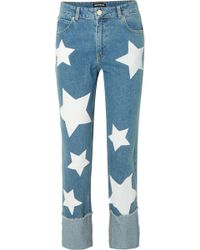 House of Holland - Printed High-rise Straight-leg Jeans - Lyst