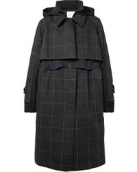 Sacai - Oversized Layered Checked Cotton-canvas And Poplin Coat - Lyst