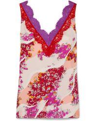 Emilio Pucci - Lace-trimmed Floral-print Silk Top - Lyst