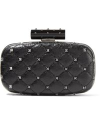 Valentino - Rockstud Spike Quilted Cracked-leather Clutch - Lyst