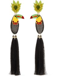 Mercedes Salazar - Bird Tasseled Gold-plated, Resin And Crystal Clip Earrings - Lyst
