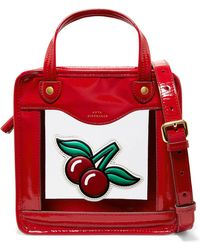 6b1109bf0e10 Anya Hindmarch - Cherries Rainy Day Small Appliquéd Patent-leather And Pvc  Tote - Lyst